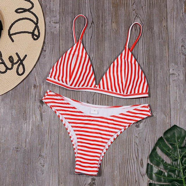 Red Striped Triangle Bikini Swimsuit Set.