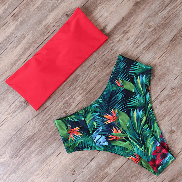 RUUHEE Floral Bandeau Strapless Bikini Swimsuit Two Piece Set High Waist