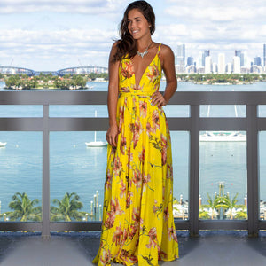 Yellow Floral Long & Sexy Boho Summer Dress