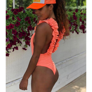 2020 New Sexy Leaf Print One Piece Swimsuit Women Ruffle Swimwear Bodysuit Monokini Brazilian Bathing Suits Beach Wear Swimming