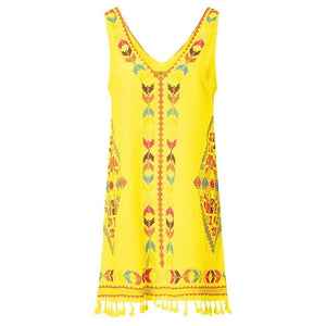 Sleeveless Boho Dress Casual Sexy Beach Cover Up Plus Size