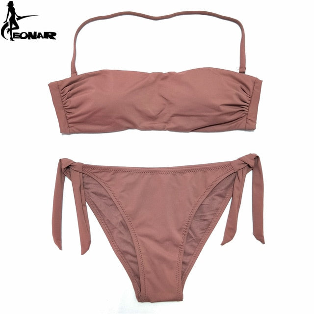 EONAR Bikini 2020 Solid Women Swimsuit  Brazilian Cut Bottom Bikini Set Push Up Swimwear Femme Bathing Suits Sport Beach Wear