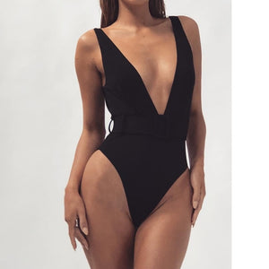 Solid Color Plunge One Piece Swimsuit Backless High Cut