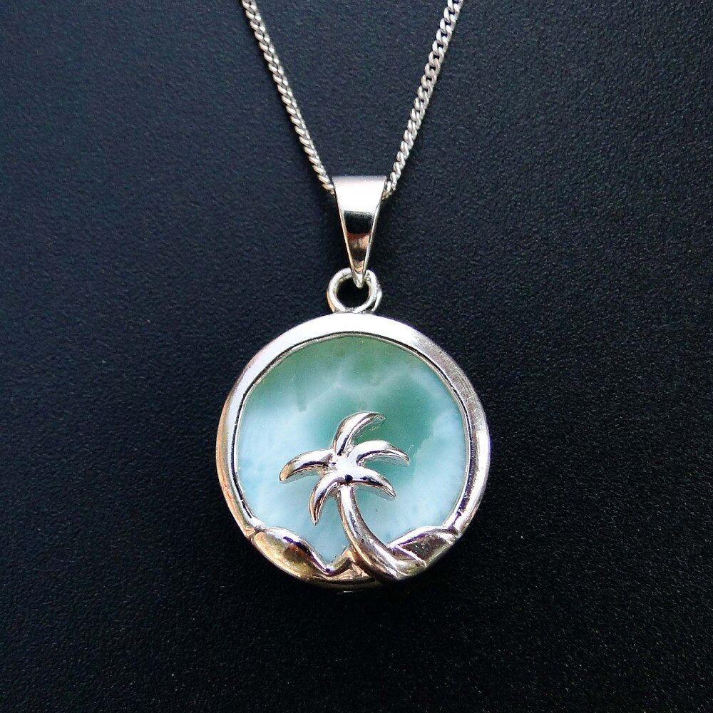 Natural Larimar Gemstone Jewelry w/ Sterling Silver Coconut Palm (Pendant without Chain)