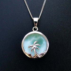 Natural Larimar Jewelry Coconut Palm Tree Women Pendant Pendant 100% 925 Sterling Silver Gemstone Pendant without Chain