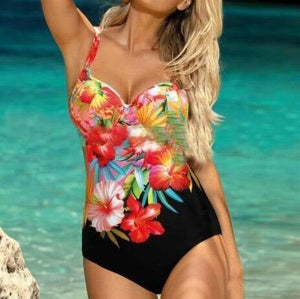 Tropical Bright Floral Sexy One Piece Swimsuit (M - XXL)