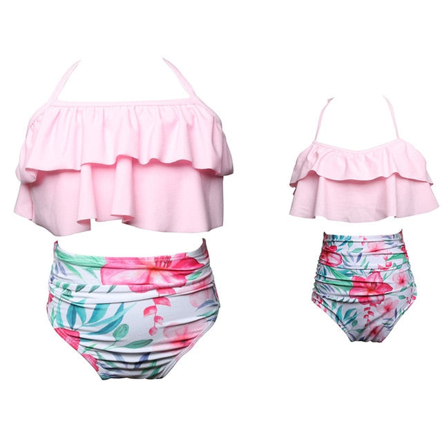 Matching Family Bikini Swimsuit 2 piece Set For Mother and Daughter