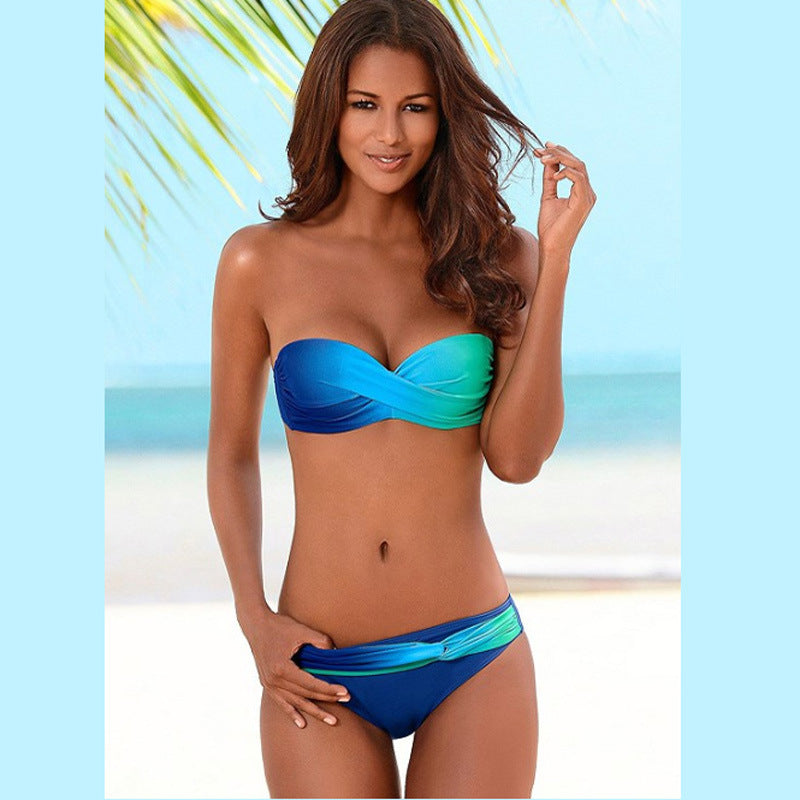 Vibrant Blue Gradient Color Twist Bandeau Bikini Two Piece Set