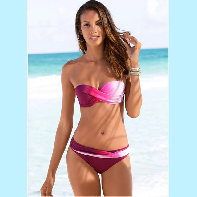 Vibrant Pink Gradient Color Twist Bandeau Bikini Two Piece Set