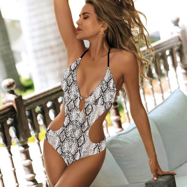 Grey Snakeskin Backless Cut Out Monokini