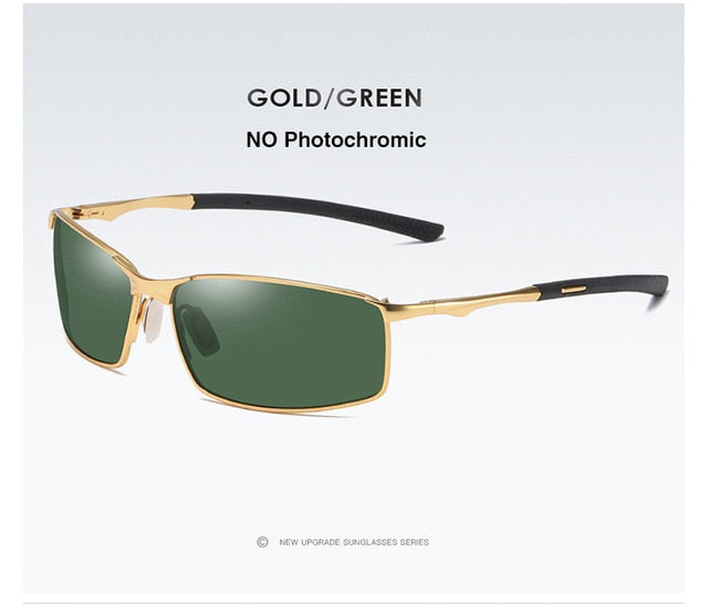 AORON Mirrored Polarized Sunglasses (Men), Gold/Green Color, Rectangular Shape