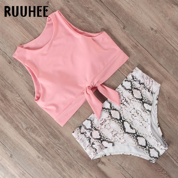 RUUHEE Swimsuit Women Bikini 2020 mujer Swimwear High Waist Bikini Set Sport Tops Bathing Suit Women Padded Beach Wear Biquinis