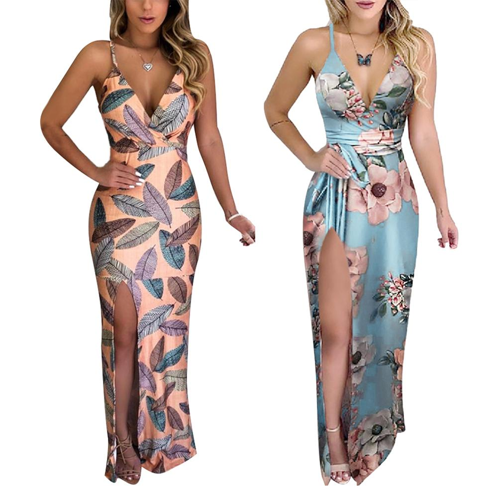Sexy Flowers Side Slitting Long Sling Dress