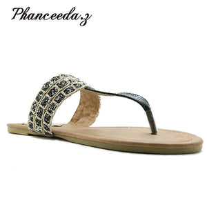 Phanceeda Z Womens Sexy Flat Sandals for Summer with Leopard Design