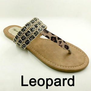 Black Color Phanceeda Z Womens Sexy Flat Sandals for Summer with Leopard Design
