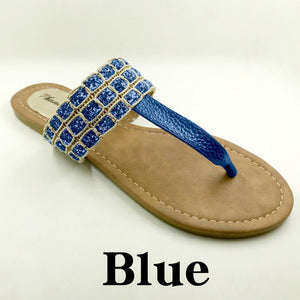 Blue Color Phanceeda Z Womens Sexy Flat Sandals for Summer with Leopard Design