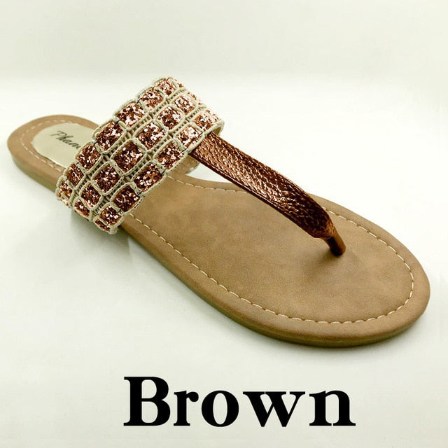 Brown Color Phanceeda Z Womens Sexy Flat Sandals for Summer with Leopard Design
