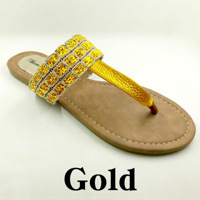 Gold Color Phanceeda Z Womens Sexy Flat Sandals for Summer with Leopard Design