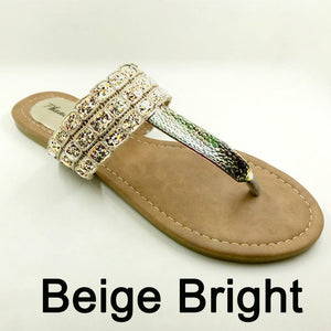 Bright Beige Color Phanceeda Z Womens Sexy Flat Sandals for Summer with Leopard Design