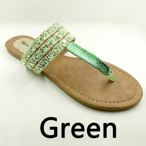 Green Color Phanceeda Z Womens Sexy Flat Sandals for Summer with Leopard Design