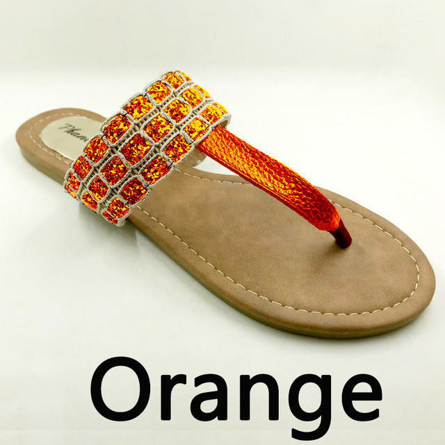Orange Color Phanceeda Z Womens Sexy Flat Sandals for Summer with Leopard Design