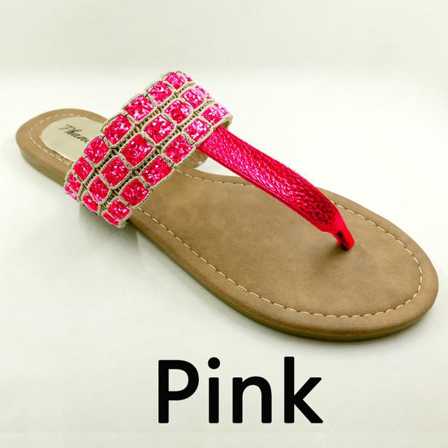 Pink Color Phanceeda Z Womens Sexy Flat Sandals for Summer with Leopard Design