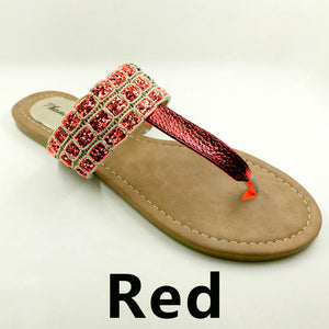Red Color Phanceeda Z Womens Sexy Flat Sandals for Summer with Leopard Design