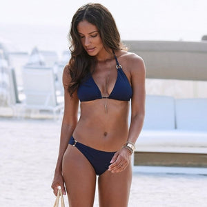 Sexy Solid Color Push Up Bikini Two Piece Set