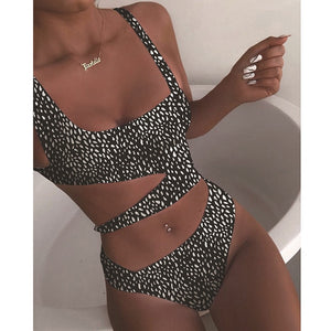 Polka Dot Cut Out Slimming Monokini Black