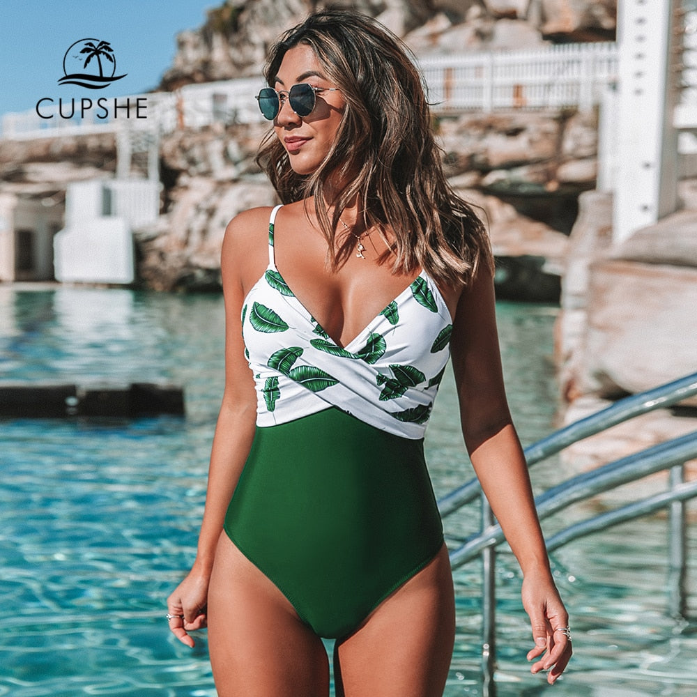 CUPSHE Banana Leaf Twist-Front One-Piece Swimsuit Women Sexy V-neck Padded Cups Monokini 2020 Girls Beach Bathing Suit Swimwear