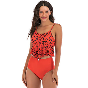 High Waist Leopard Ruffled Bikini Swimsuit (Red) - Two Piece Set