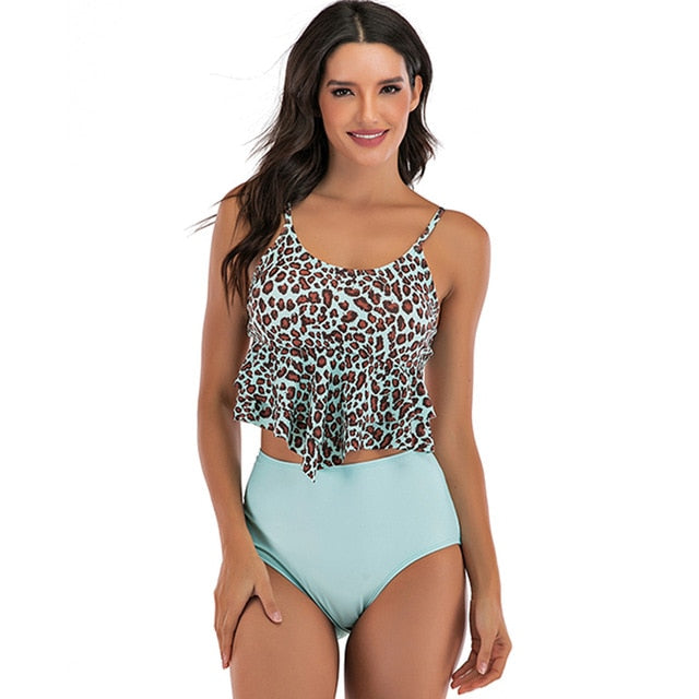 High Waist Leopard Ruffled Bikini Swimsuit (Light Blue) - Two Piece Set