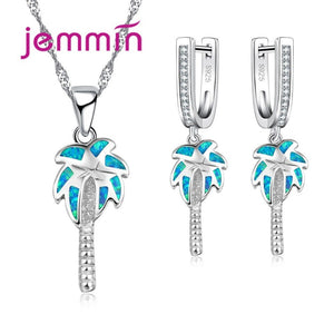 New Coconut Tree Fine Party Jewelry Sets For Women Girls Blue Fire Opal Pendant Necklaces Dangle Earrings Sterling Silver