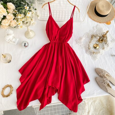 French small sexy backless  with shoulder-straps seaside resort wind ruffled lace waist dress