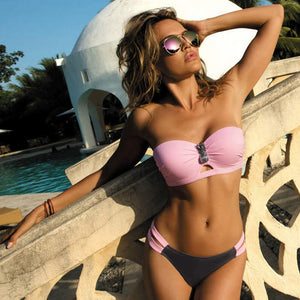 Pink Sexy Bandeau Bikini Swimsuit for Beach and Party