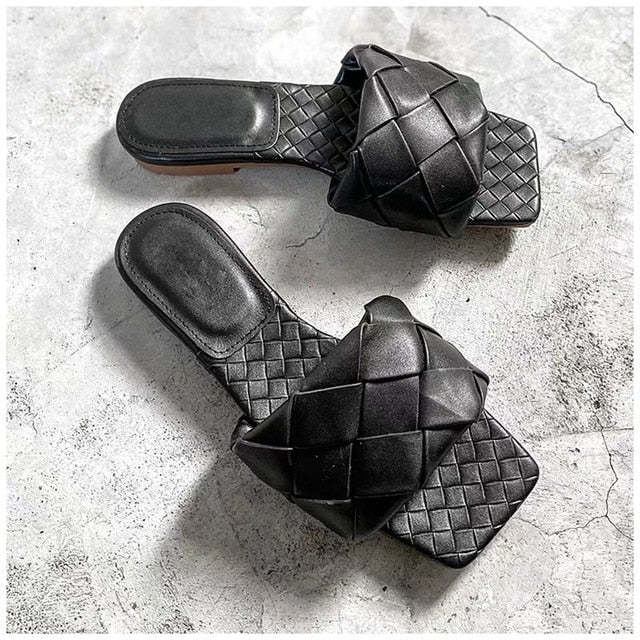 Flat Leather Open Toe Beach Sandals Rome Style, Black Color