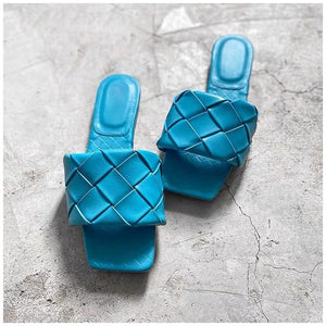 Flat Leather Open Toe Beach Sandals Rome Style, Blue Color