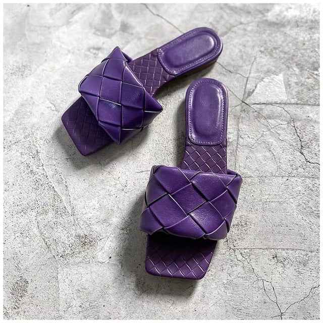 Flat Leather Open Toe Beach Sandals Rome Style, Purple Color