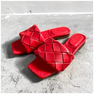 Flat Leather Open Toe Beach Sandals Rome Style, Red Color