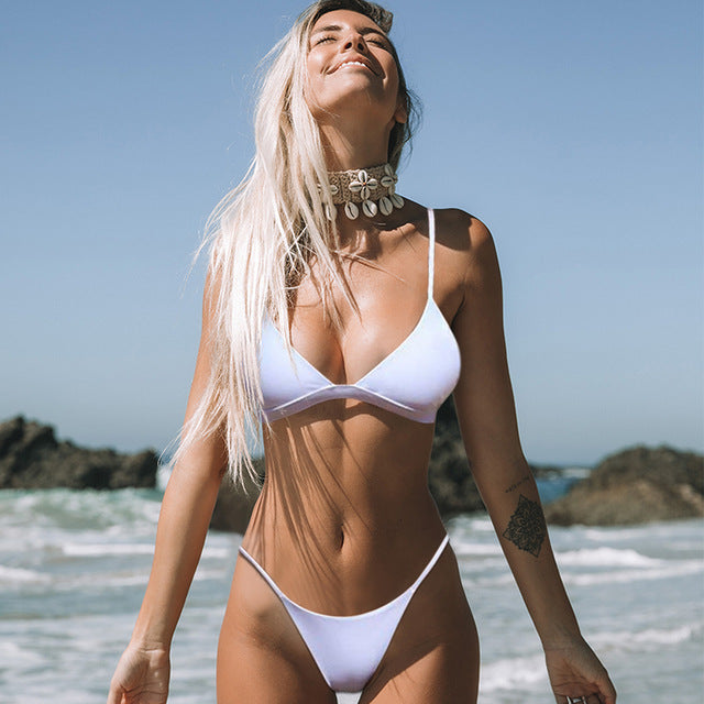 White Solid Color Sexy Micro Brazilian Thong Bikini Swimsuit - Two Piece Set