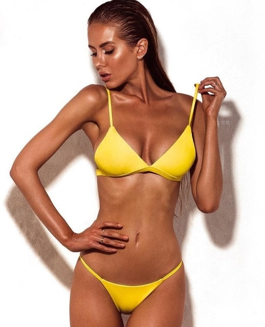 Sexy Yellow Solid Color Micro Brazilian Thong Bikini Swimsuit - Two Piece Set