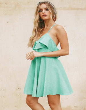 Lossky Summer Sexy Mini Dress with Backless Cross Drawstring Ruffles Bundle