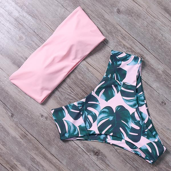 RUUHEE Pink & Green Coconut Leaf Bandeau Strapless Bikini Swimsuit Two Piece Set with High Waist