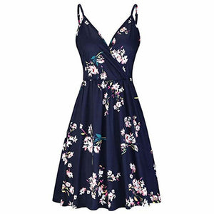 Spaghetti Strap Summer V Neck Floral Swing Dress with Pocket