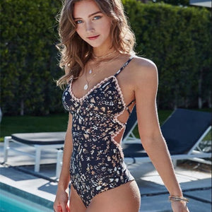 Linda's Sexy Flower Print Cut-Out Monokini