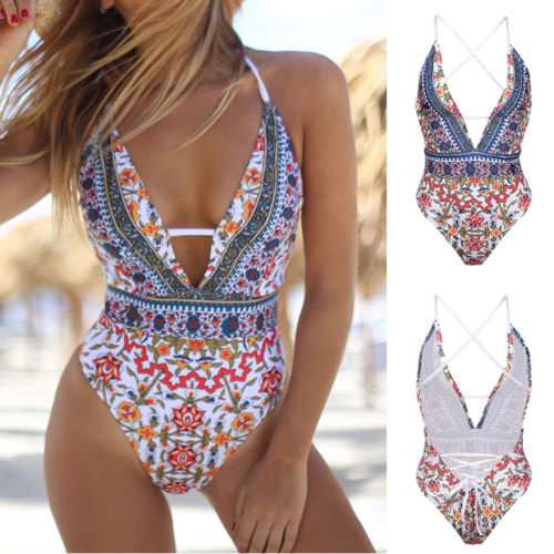 Floral Backless Plunge Monokini High Cut