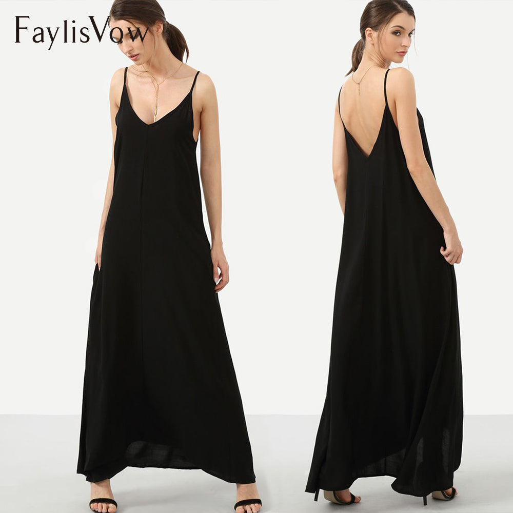 Black Sexy Backless Loose Long Dress for Party & Beach