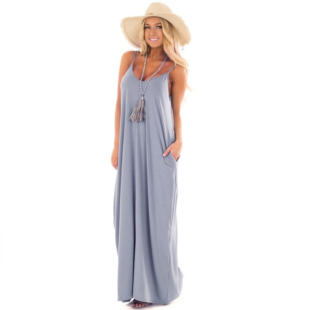 Grey Sexy Backless Loose Long Dress for Party & Beach