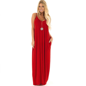 Red Sexy Backless Loose Long Dress for Party & Beach