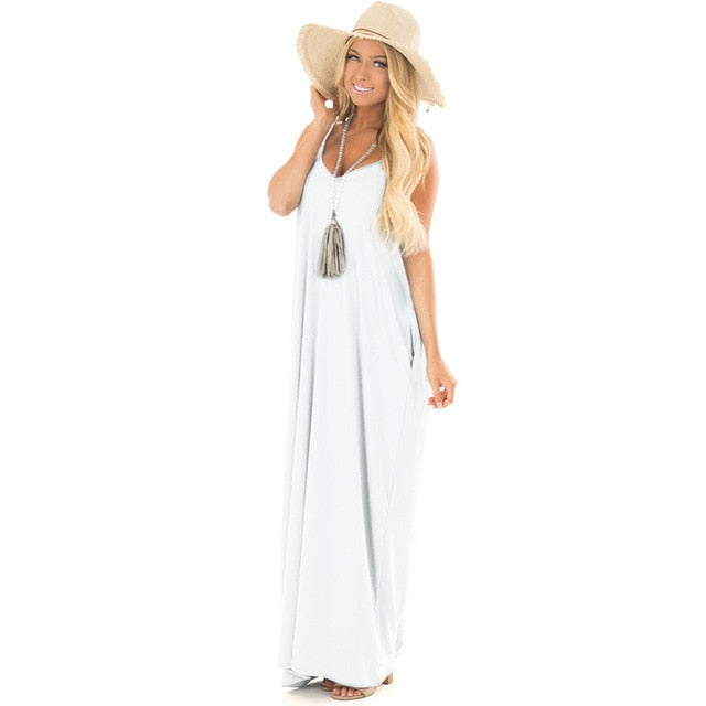 White Sexy Backless Loose Long Dress for Party & Beach